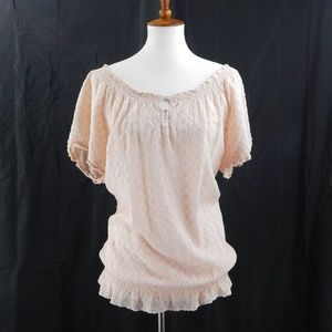 Johnny Was Peachy Pink Eyelet Lace Blouse SZ LARGE